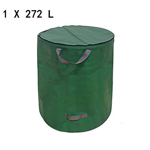 Gartenabfallsäcke Gartensack Pop Up 272L Verschließbar Faltbar Grün Robust Wasserdicht Gartensack Mit Deckel ReißVerschluss Gartenabfallsack Für GartenabfäLle Laub Rasen Pflanz GrüNschnitt (1x272L)