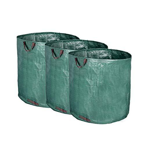 HOLISTAR 3er Gartenabfallsack 500L selbststehend Gartensäcke Laubsack Gartenabfälle Tasche faltbar