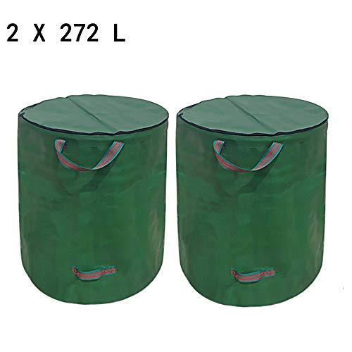 Gartenabfallsäcke Gartensack Pop Up 272L Verschließbar Faltbar Grün Robust Wasserdicht Gartensack Mit Deckel ReißVerschluss Gartenabfallsack Für GartenabfäLle Laub Rasen Pflanz GrüNschnitt (2x272L)