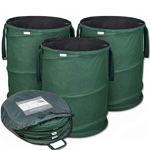 Glorytec Pop-Up Gartenabfallsack 3 x 170 Liter - Selbstaufstellende Gartensäcke aus Extrem Robustem Polyester Oxford 600D - Premium Laubsack-Set Selbststehend, Stabil und Faltbar