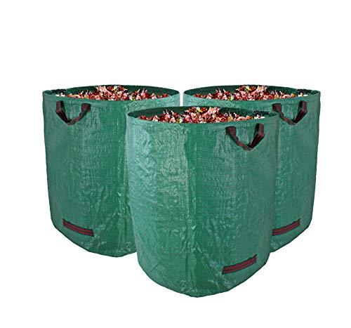 Gartenabfallsack XXL 272L im 3er Set - Extra robustes Polypropylen-Gewebe 150g/m² - wasserdicht & reißfest - Perfekter Behälter für Laub, Müll, Grünabfall, Grüngut & Kompostbu