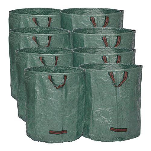 WOLTU® 8X Gartensack 272L XXL Abfallsack Selbstaufstellend Laubsack Gartenabfälle Sack PP Gartenabfallbehälter Gartentasche 150g/m²