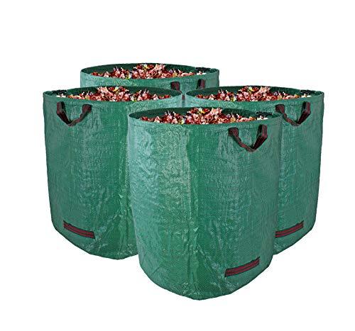 Gartenabfallsack XXL 272L im 4er Set - Extra robustes Polypropylen-Gewebe 150g/m² - wasserdicht & reißfest - Perfekter Behälter für Laub, Müll, Grünabfall, Grüngut & Kompost