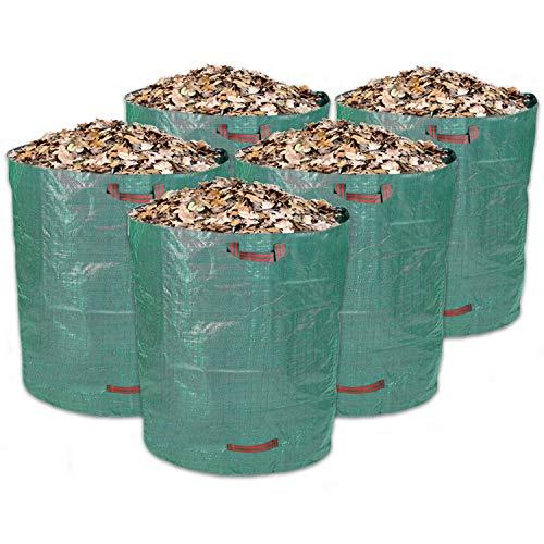 Schramm® 5 Stück Gartensäcke 500L Grün Robusten Polypropylen Gewebe PP Gartensack Garten Sack Säcke Big Bag 500 Liter Volumen 5er Pack im Set