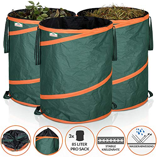 Gardebruk Gartenabfallsack Pop Up | Laubsack 3x 85 Liter = 255 Liter | Gartensack verschließbar | max. 30 kg