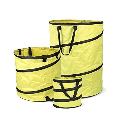 Fundwerk Pop-up Garten-Abfallsack 15L, 85L & 170L im 3er Set | Die Gartenabfallsäcke sind bestens geeignet als Laubsack und für Grünschnitt | hellgrün