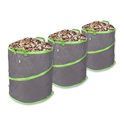 Schramm® 3 Stück Pop-Up Gartensäcke 137L Grün/Grau Sehr Stabiles Polyester Oxford Selbst Aufstellend Gartensack Pop UP Garten Sack Säcke Big Bag 3er Pack