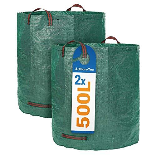 ZJLA XXL Gartensack 2x500l - Premium Gartenabfallsack-Set - Stabile XXL Gartensäcke aus extrem robustem Polypropylen-Gewebe (PP) 150gsm - Laubsack Selbststehend und faltbar