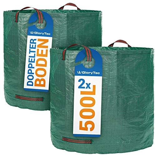 Glorytec XXL Gartensack 2x500l - Premium Gartenabfallsack-Set - Stabile XXL Gartensäcke aus extrem robustem Polypropylen-Gewebe (PP) 150gsm - Laubsack Selbststehend und faltbar