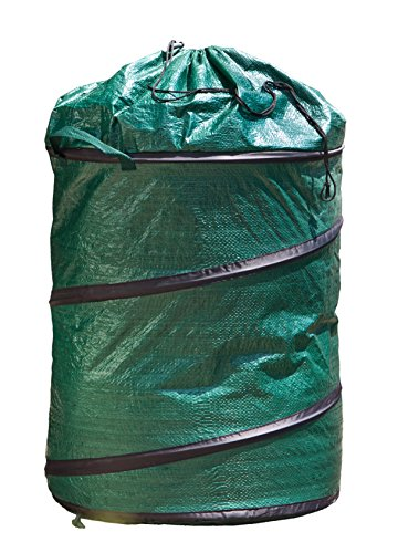 Gartensack Pop Up Laubsack Selbstaufstellend Springsack 120 L,verschließbar mit Kordelzug faltbar, grün, 50 x 50 x 60 cm, 06739