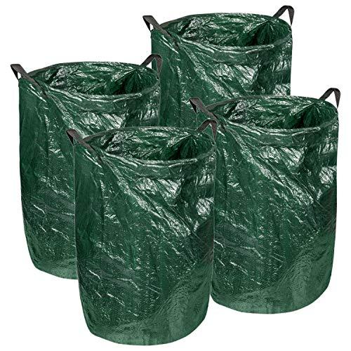 4er Set Gartenabfallsack 120 Liter Laubsack mit Metallring zum Verstärken der Öffnung   Tragegriffe für leichten Transport   ideal für Gartenabfällen, Gras, Laub   grüner Kunststoff   45 x 75cm