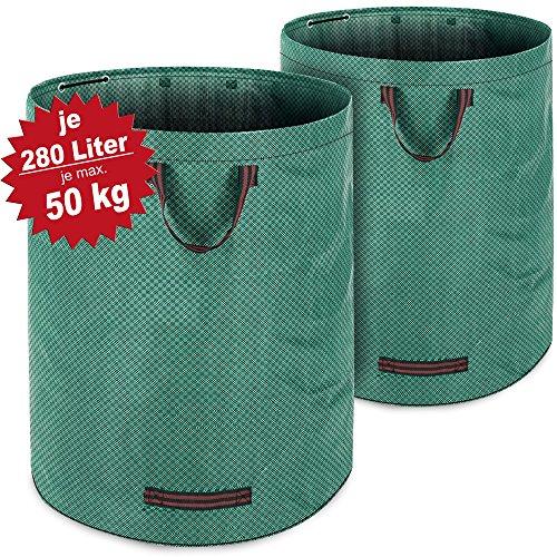 Gartenabfallsack Laubsack 2 x 280 Liter = 560L | bis zu 50kg belastbar | zusammenfaltbar | Gartensack Gartentasche Rasensack